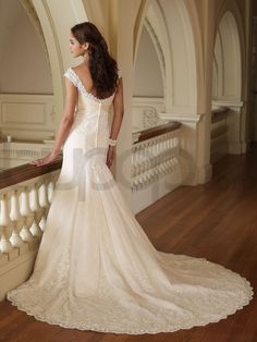 Mermaid Taffeta Embroidered Lace Bodice Scoop Neckline Chapel Length Train Wedding Dresses (MB110218)