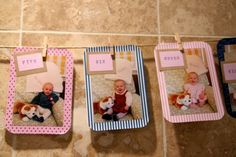 Make a banner of the 12 monthly pictures of his first year.