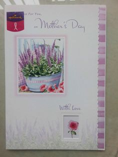 """Mother Day Card """"Just for you """" Hallmark Cards Breast Cancer Support Flowers"""