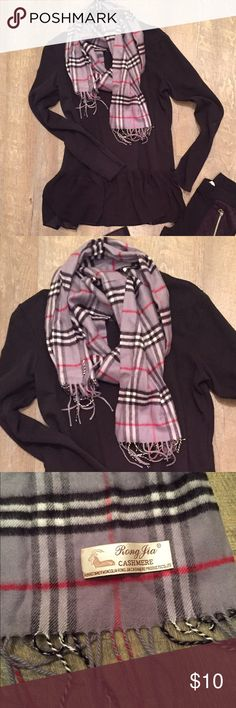 Plaid Fringe Scarf Stay warm with this adorable scarf. Perfect condition. No trades. Bundle to save! Rong Jia Accessories Scarves & Wraps