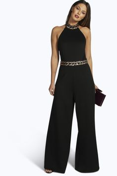 Boutique Amelia High Neck Embellished Jumpsuit