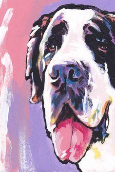 Saint Bernard Dog portrait giclee print of modern by BentNotBroken