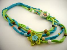 Items similar to Fabric Necklace, blue and green fabric necklace on Etsy Fiber Art Jewelry, Textile Jewelry, Fabric Jewelry, Jewelry Art, Ribbon Jewelry, Jewelry Crafts, Beaded Jewelry, Handmade Jewelry, Fabric Beads