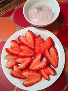 Strawberry Hearts with dip. Best fruit dip and so easy. 1 jar Marshmellow creme and 1 cup soft strawberry cream cheese, mix well.