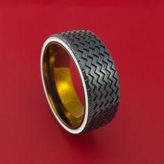 Black Zirconium Hot Rod White Wall Tire Spinner Ring Custom Made Anodized Band