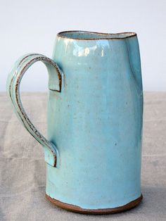 turquoise pitcher water pitcher ceramic pitcher by FreshPottery Thrown Pottery, Slab Pottery, Pottery Mugs, Ceramic Pottery, Pottery Art, Glazed Pottery, Ceramic Pitcher, Tea Pitcher, Ceramic Bowls