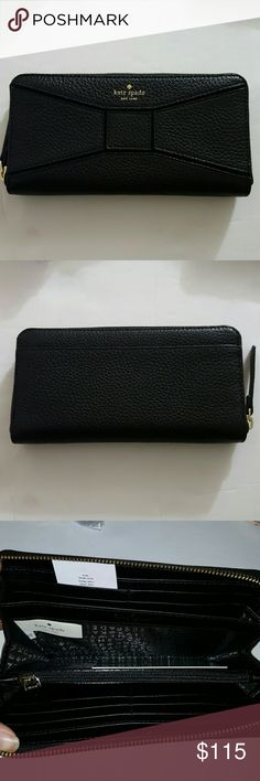 Kate Spade Bridge Place Neda Black Brand new with tags. 100% Authentic. 12 credit card pockets Interior zippered divider pocket 2 interior slide pockets. Zippered closure Exterior slide pocket kate spade Bags Wallets