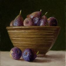 Daily painting, a painting a day, contemporary still life landscape small work of art by Youqing Eugene Wang, Y. Fig Fruit, Fresh Fruit, Still Life Artists, Fruits And Vegetables, Painting Inspiration, Be Still, Serving Bowls, Figs, Fine Art