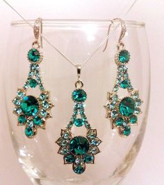Teal Green Peacock Swarovski Art Deco Jewelry Set, Blue Zircon Crystal Bridal Earrings and Necklace, TEAL RAYS SET
