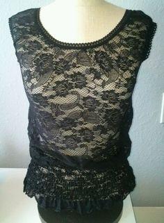Julie's Closet Lace Black Shirt Sheer Stretch Size XS #JuliesCloset #Blouse