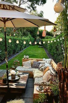 Backyard Patio Designs, Small Backyard Landscaping, Backyard Pools, Cozy Backyard, Narrow Backyard Ideas, Cozy Patio, Outdoor Spaces, Outdoor Living, Outdoor Decor