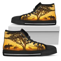 Elephants Gathering at Sunset Men's High Tops Elephants Gathering at Sunset Men's High Tops Custom p Top Shoes, Men's Shoes, Boho Fashion, Mens Fashion, Mens High Tops, Snug Fit, High Top Sneakers, Just For You, Lace Up