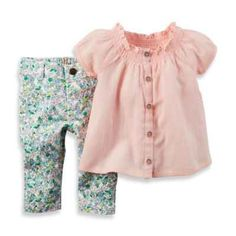 carter's 2-Piece Smocked Cap Sleeve Top and Floral Jean Set in Pink/Green