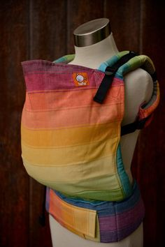 Tula Toddler carrier (carrier for 18mos/25lbs to 4+ yrs - or active older babies) - Half Wrap Conversion in Girasol Sustain.Bow Crème Weft
