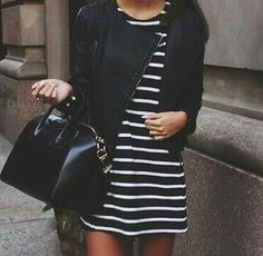 black and white striped dress and black jacket