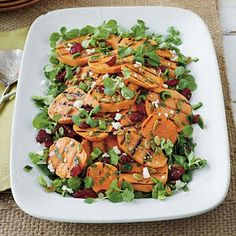 Grilled Sweet Potato-Poblano Salad | Each bite of this salad explodes with flavor from grilled sweet potatoes, poblano peppers, roasted pumpkin seeds, and a cilantro vinaigrette. | #Recipes | SouthernLiving.com