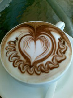 My latte art ...  just a heart... knowyourgrinder.com #coffee #coffeeswag #coffeegrinders #latteart #coffeeart