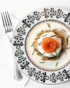 Though latkes are typically a Hanukkah treat, these are the perfect accompaniment to the seder meal. Made with egg matzo and served with sliced smoked salmon and horseradish cream, they fit in well on any Passover menu.