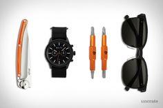 EDC: CLOCKWORK ORANGE Aulta Leeway Canvas Watch ($115).  Deejo Linerlock Knife ($31).  Fix It Sticks ($30).  Vonzipper Mayfield Sunglasses ($140).