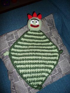 Crochet Yo Gabba Gabba Brobee lovey blanket (Modified the free Eco Bunny pattern here: http://www.lionbrand.com/patterns/81029AD.html?noImages=