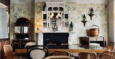 #ceramicsculpture #greenpalette #brunswickgreen #distressedmural #interior mural #avianaesthetic #avianinterior #birbs #painteffects #distressedinterior #fresco #ceramicfigurines #ceramics #berrybush #decorativepainting #decorativeart #neutraldecor #canefurniture #bestdiningroom #theespy #espyhotel #visitmelbourne Visit Melbourne, Cane Furniture, Green Palette, Paint Effects, Fresco, Art Decor, Dining Room, Ceramics, Interior