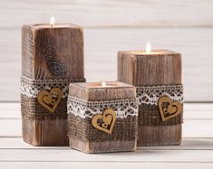 Rustic Wedding Centerpiece Ceremony Candles Wood Candle Holders Set of Three Burlap and Lace Wedding Decor Table Top Accessory