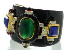Kenneth J Lane KJL Black Enamel Faux Jade Lapis Cabochon Cuff Bracelet #KennethJayLane