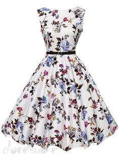 レディースファッション ノースリープ 花柄 大裾 可愛い フレアワンピース 11973492 - 花柄ワンピース - Doresuwe.Com