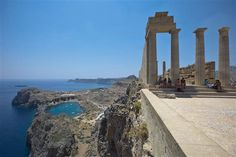 The Acropolis, which stands on a 380-foot-high hill overlooking Lindos, Greece and the Aegean Sea.