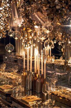 30 Modern Wedding Decor Ideas ❤ modern wedding decor gold reception table with candles in bottle candlesticks featured floral Mod Wedding, Wedding Table, Dream Wedding, Wedding Day, Wedding Gold, Spring Wedding, Wedding Jewelry, Magical Wedding, Ballroom Wedding