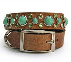 Turquoise/Leather Dog Collar