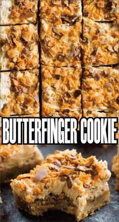 Butterfinger Cookie Easy Kraft Recipes is part of Butterfinger cookies - Kraft Foods, Kraft Recipes, Köstliche Desserts, Delicious Desserts, Dessert Recipes, Yummy Food, Bar Recipes, Recipies, Tailgate Desserts