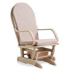 Sedia dondolo basculante in legno massiccio, completa di cuscino ...