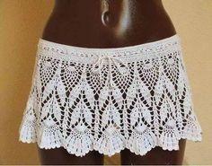 Hermosa falda para el verano! Crochê filé