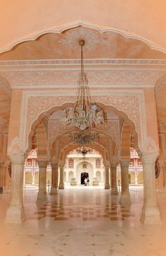 A pink palace in Rajestan from insite - India