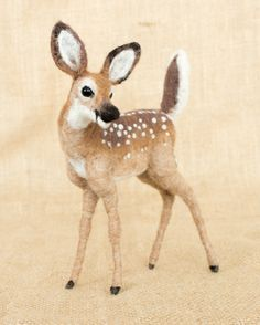 Kolby the Fawn: Needle felted animal sculpture by The Woolen Wagon