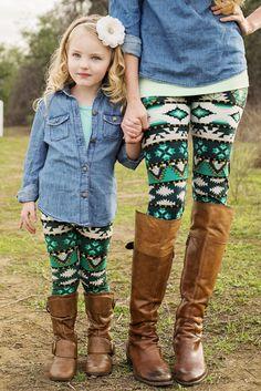 GroopDealz | Mommy & Me Leggings - Green & White Tribal #leggings #aztecleggings #mommyandmeapparel