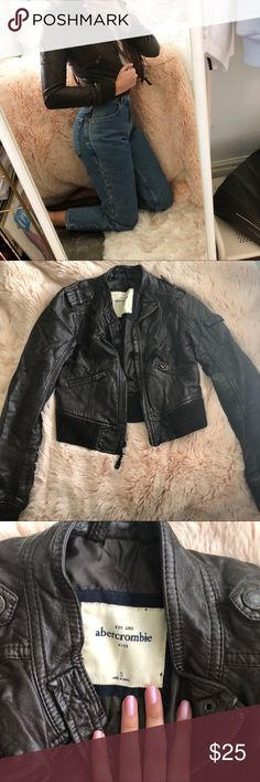 Abercrombie Kids Brown Leather Jacket Abercrombie Kids Brown Leather Jacket Soft Faux Leather Material  Moto (Motorcycle) Style with zips Girls Size S  In good condition, not actually worn but shows wear from storage/age Retail $80 abercrombie kids Jackets & Coats