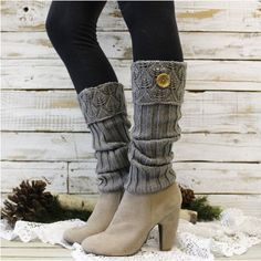 cuff leg warmers In Silver grey knit by ForeverLaceBoutique Guêtres Au Crochet, Crochet Boots, Leg Warmers Outfit, Knit Leg Warmers, Crochet Boot Cuff Pattern, Hunter Boots Outfit, Fashionable Snow Boots, Boot Socks, Knitted Hats
