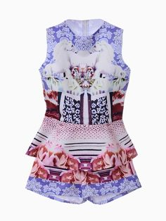 Retro Horses Print Two-piece Suit With Top And Shorts