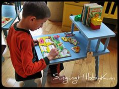 What a great idea... A Two Tier End Table Makeover.... Little Desk for Little People...using CeCe Caldwell's paints....