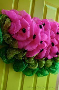 Deco Mesh, Watermelon, Wreath, Tutorial, DIY, Summer, Spring, Wreath, How to