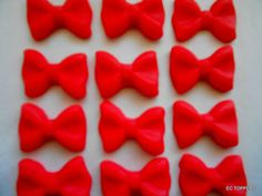 24 Fondant Bow Cupcake/Cookie Toppers by ECTOPPERS on Etsy, $12.99