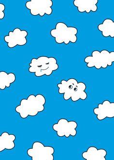 Blue Sky Happy Funny Clouds Art Print - $14.00