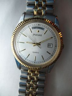 Mens Pulsar Silver-Tone & Gold-Tone Day-Date Watch with Elastic Band Not Working #Pulsar