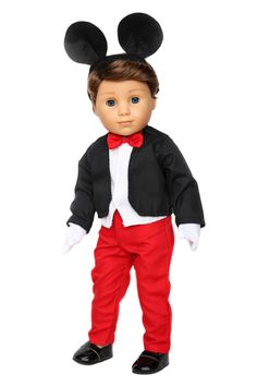 Mickey Mouse Tuxedo & Shoes Doll Clothes for 18 inch American Boy Doll Disney Costumes, Girl Costumes, Costume Ideas, Boy Doll Clothes, Doll Clothes Patterns, Ag Dolls, Girl Dolls, American Boy Doll, Tuxedo Shoes