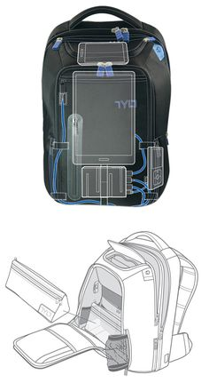 Never have your phone die again! This backpack can charge 3 of your mobile devices.