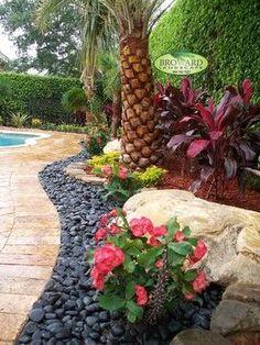 Tropical Landscape Design Ideas, Pictures, Remodel and Decor - rocks, boulders, pool deck & foliage colors