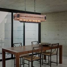 Home Decorators Collection Ackwood Wood Rectangular Chandelier with Amber Glass Shades - The Home Depot Rectangular Chandelier, Warm And Cool Colors, Lighting Showroom, Modern City, Amber Glass, Glass Shades, Light Fixtures, New Homes, Dining Room