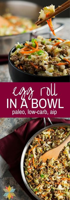 This Egg Roll in a Bowl has all of the great flavor of an #eggroll but it's an Easy One Pan Meal without the grain wrapper! #paleo #lowcarb #wholenewmom
